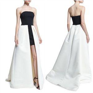 Halston Strapless High-Low Ball Gown, Eggshell/B